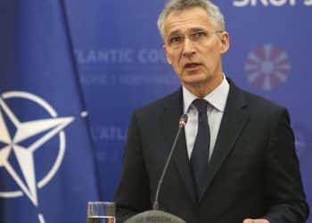 NATO Secretary General Jens Stoltenberg talks for the media during a news conference with North Macedonia Prime Minister Zoran Zaev, not pictured, following their meeting with 29 ambassadors of top Alliance body (North Atlantic Council) in Skopje, North Macedonia, Monday, June 3, 2019. NATO Secretary-General Jens Stoltenberg has arrived for a two-day visit to North Macedonia before this tiny Balkan country officially becomes the alliance's 30th member by the end of the year. (AP Photo/Boris Grdanoski)